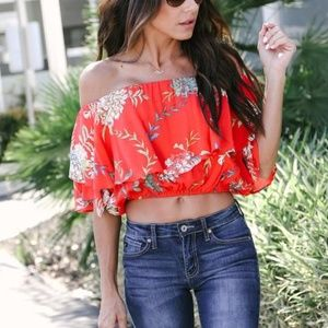FESTIVE FLOWERS OFF THE SHOULDER TOP Size SMALL